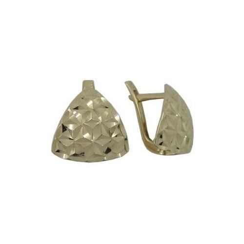 Золотые серьги без камней с алмазной гранью