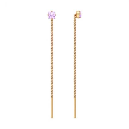 Золотые серьги продёвки c фиолетовыми фианитами SOKOLOV