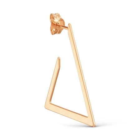 Т100028047 золотая одиночная серьга без камней