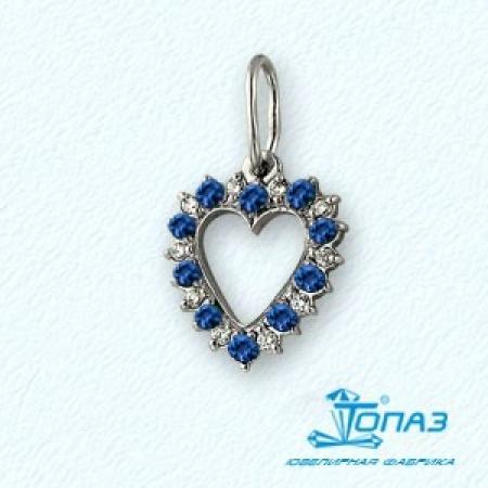 Т30103689 подвеска сердце из белого золота с сапфирами, бриллиантами