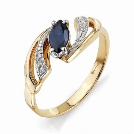 11031-102 золотое кольцо с сапфиром и бриллиантами