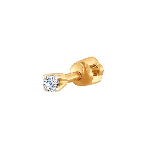1170005 золотая серьга c бриллиантом sokolov