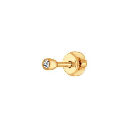 1170007 золотая серьга c бриллиантом sokolov