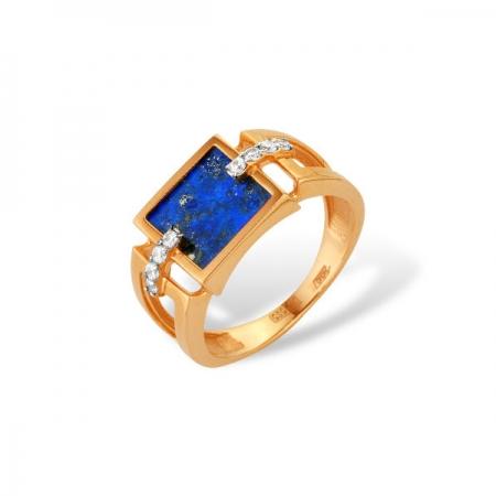 Кольцо из золота 585 пробы с лазуритом и фианитами