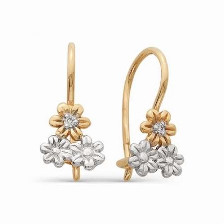 21131-100 детские золотые серьги в виде цветочков