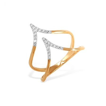 """К1324154 кольцо """"фаланговое"""" из красного золота 585 с фианитами"""