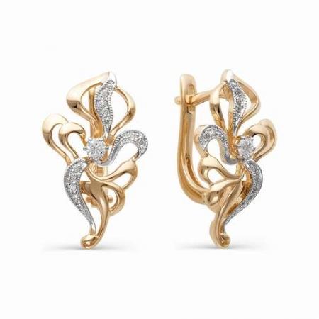 21236-100 золотые серьги с бриллиантами