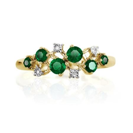 Т945616491 кольцо из желтого золота с изумрудом, бриллиантами