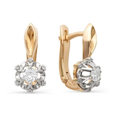 21303-100 золотые серьги цветы с бриллиантами