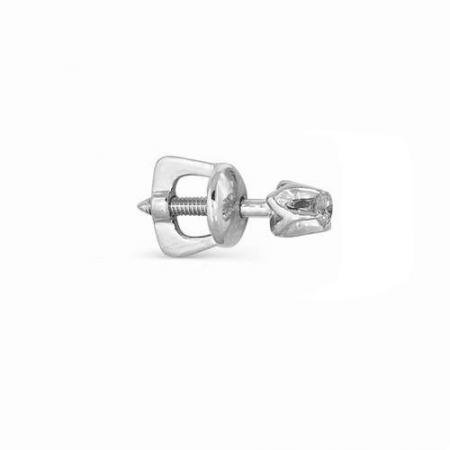 2233-200 серьга гвоздик из белого золота с бриллиантами