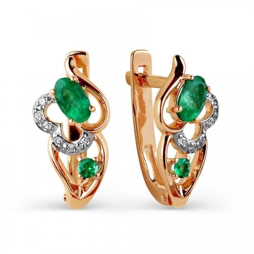 Золотые серьги с изумрудом, бриллиантами