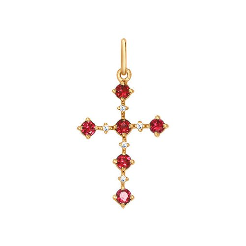 Золотой крестик c рубинами SOKOLOV