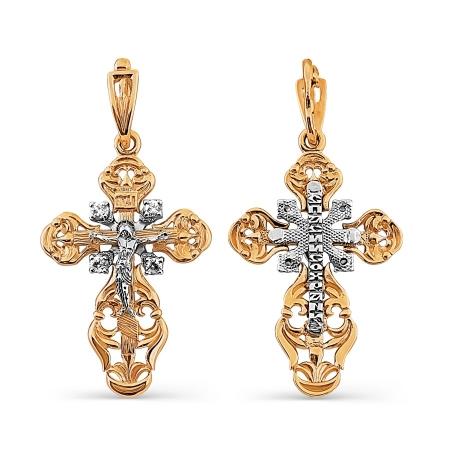 Т13206367 золотой крестик с фианитами