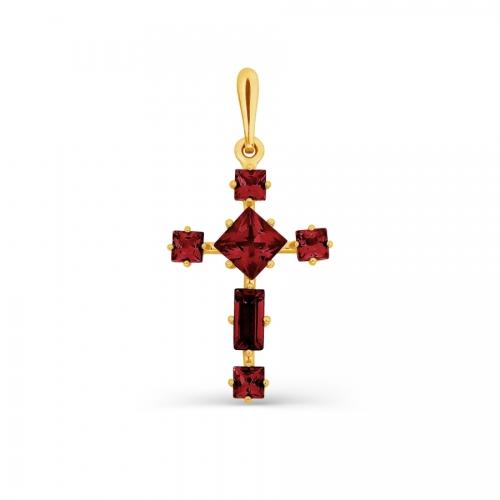 Крестик из желтого золота с гранатом