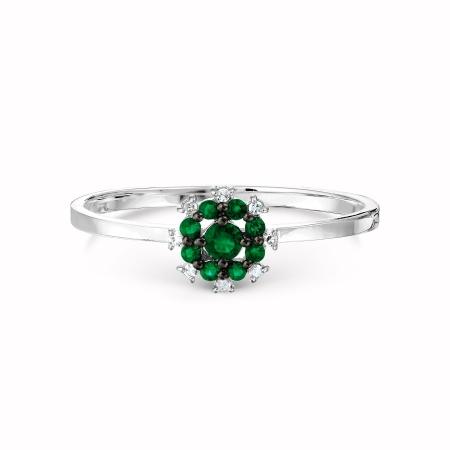 Т301017669 кольцо из белого золота с изумрудом, бриллиантами