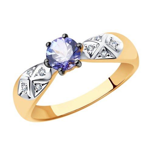 Кольцо из золота с бриллиантами и танзанитом