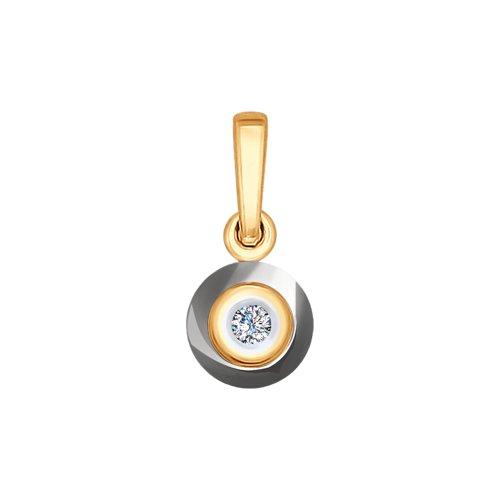 Подвеска из золота с бриллиантом и керамической вставкой