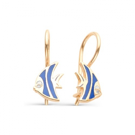 21208-100 детские золотые серьги рыбка дори бриллиантами