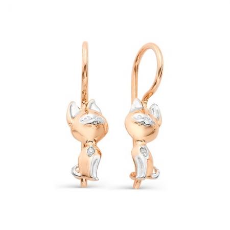 21874-100* детские золотые серьги котята (бриллиант)