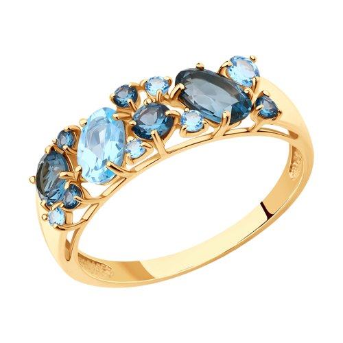 714174 золотое кольцо с топазами sokolov