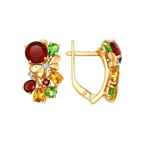 Золотые серьги с цветными камнями SOKOLOV