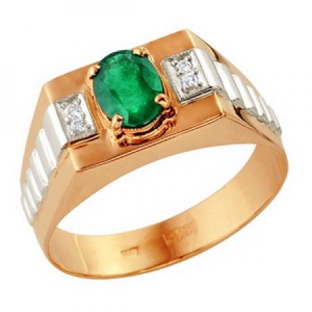Т-12929 мужское золотое кольцо с изумрудом и бриллиантами