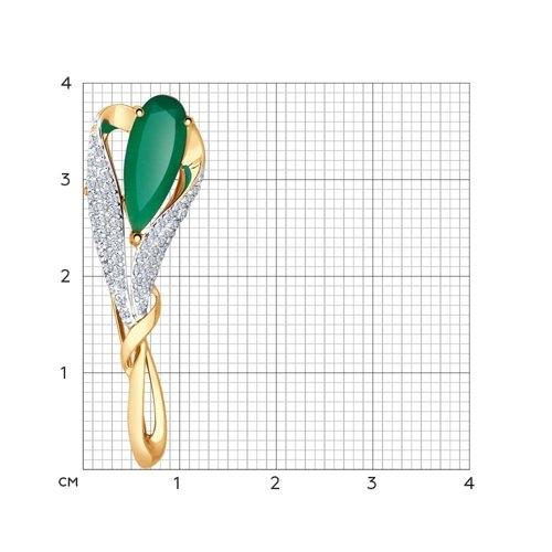 Золотая брошка (Агат, Фианит) SOKOLOV