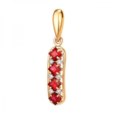 Т-12979 золотая подвеска с рубином и бриллиантами