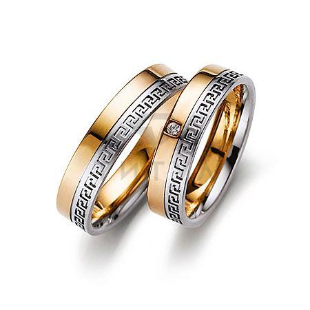 Т-27632 золотые парные обручальные кольца (ширина 5 мм.) (цена за пару)