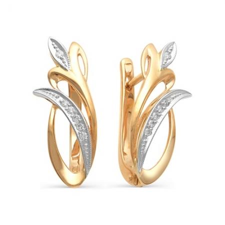 2008-100 золотые серьги в виде тюльпанов с бриллиантами
