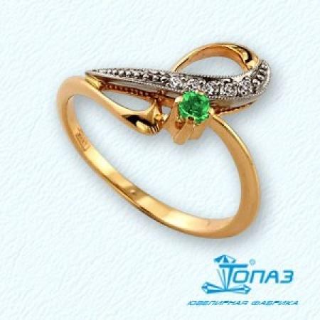 Т131011298 золотое кольцо с изумрудом и бриллиантом