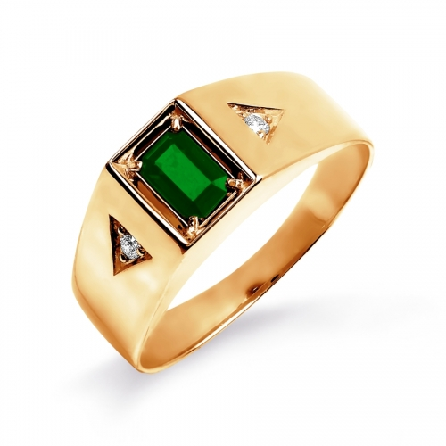 Золотое мужское кольцо с изумрудом, бриллиантами