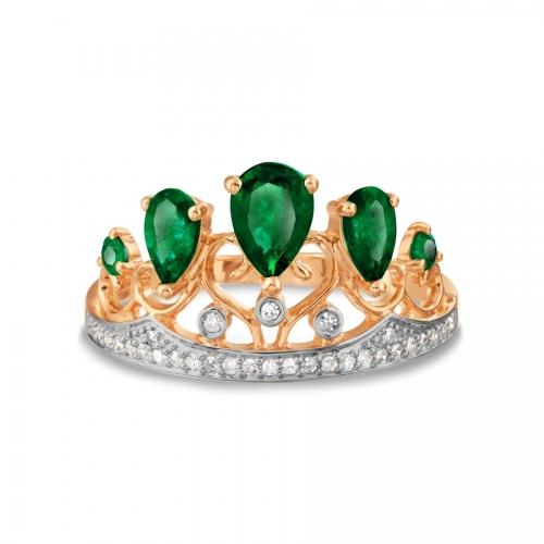 Золотое кольцо Корона с изумрудом, бриллиантами