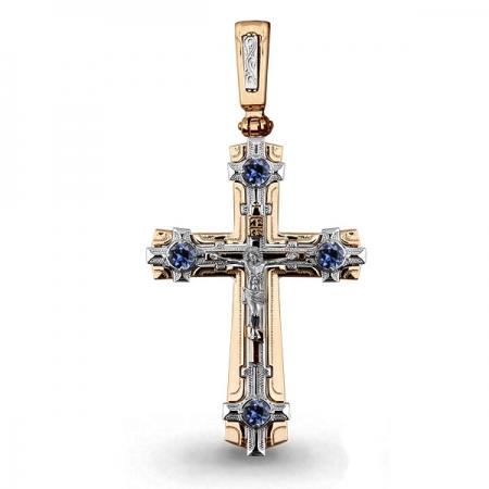Т-22038 мужской золотой крестик с сапфиром