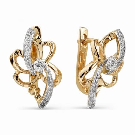 21029-100 золотые серьги с бриллиантами