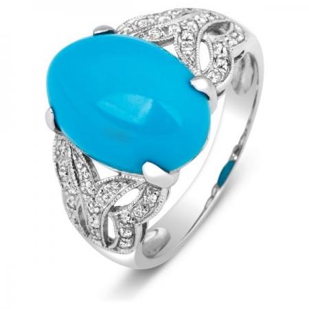 Т-38252 кольцо из белого золота с бриллиантами и бирюзой