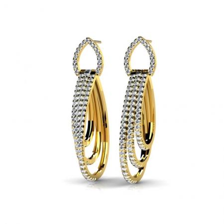Т-10909 висячие серьги из желтого золота с бриллиантами