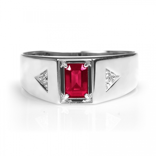 Мужское кольцо из белого золота с рубином и бриллиантом