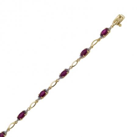 Т-32818 золотой браслет c бриллиантами и рубинами