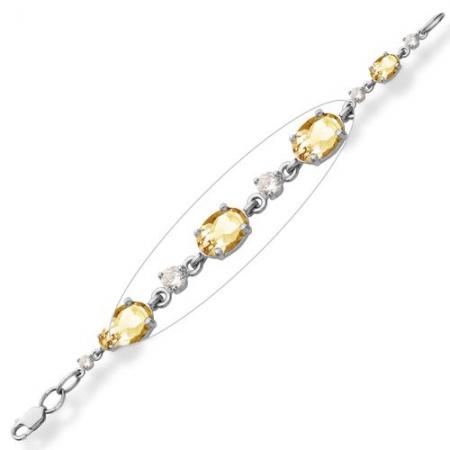 Браслет из серебра с цитринами, фианитами Бр620-006-17Ц Ювелирные традиции
