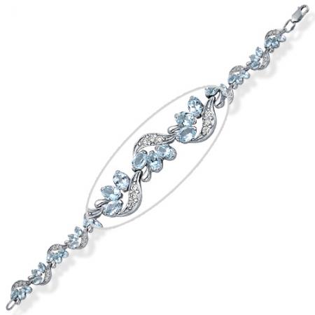Браслет из серебра с топазами, фианитами Бр620-014-17Т Ювелирные традиции