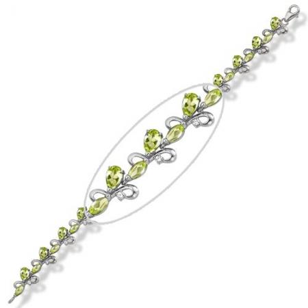 Браслет из серебра с хризолитами, фианитами Бр620-022-17Хр Ювелирные традиции
