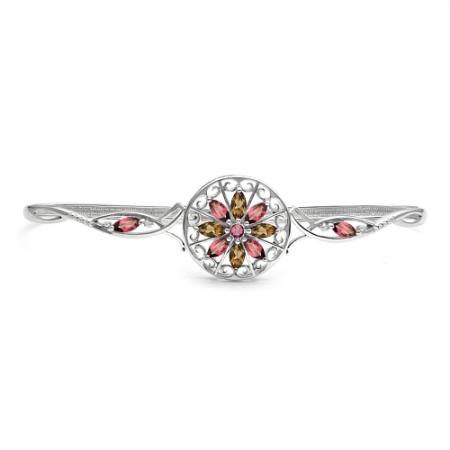Браслет наладонный из серебра с цветными камнями Бр620-086М2 Ювелирные традиции