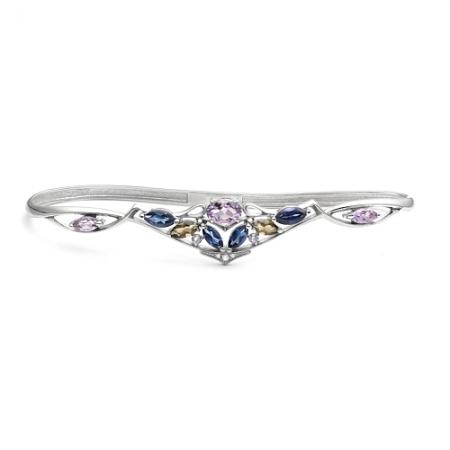 Браслет наладонный из серебра с цветными камнями Бр620-087М1 Ювелирные традиции