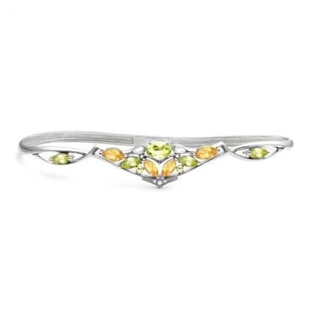 Браслет наладонный из серебра с цветными камнями Бр620-087М3 Ювелирные традиции