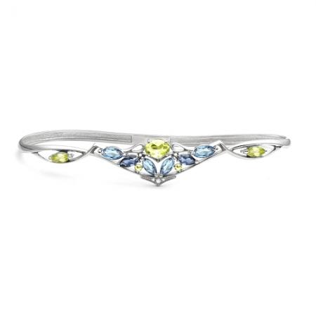Браслет наладонный из серебра с цветными камнями Бр620-087М4 Ювелирные традиции