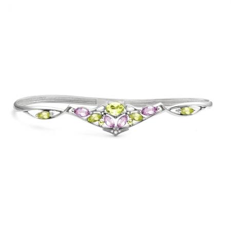Браслет наладонный из серебра с цветными камнями Бр620-087М6 Ювелирные традиции