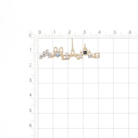 Т14709230 золотая булавка с топазом лондон и фианитами