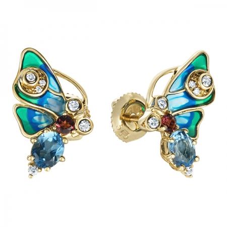 Т-35376 серьги «бабочки» из желтого золота c топазами, бриллиантами, эмалью и турмалинами