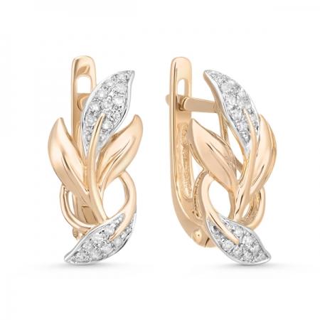 Т-31269 золотые серьги листья c бриллиантами